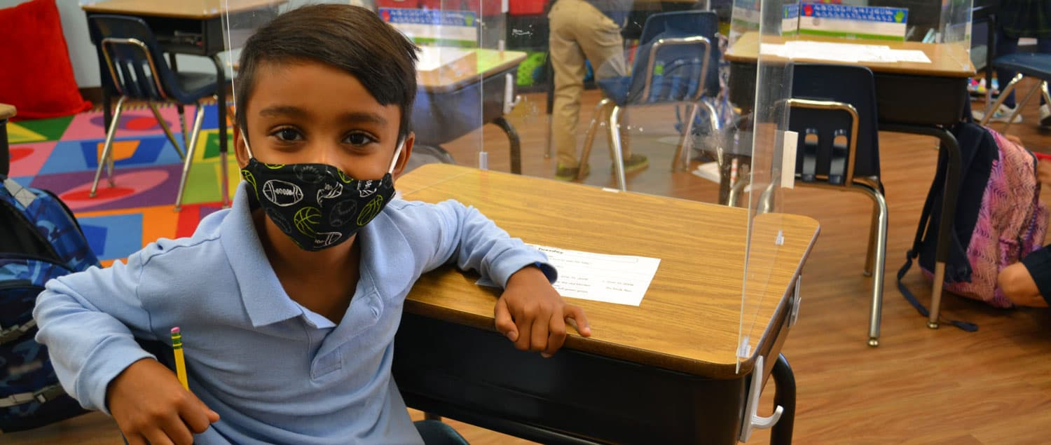 Del Mar Pines School student with face mask