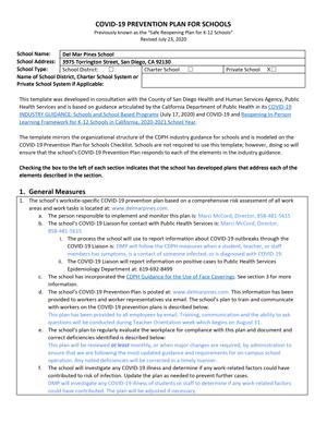 DMP COVID-19 Prevention Plan