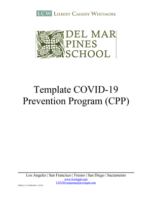 COVID-19 Prevention Program (CPP) Template